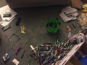 Another aerial photo of piles of pens.