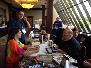 Timothy Zahn signing books for JA Campbell